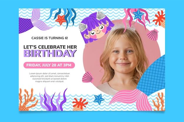 Flat mermaid birthday invitation with photo