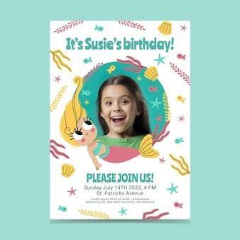 사진이있는 평면 인어 생일 초대장