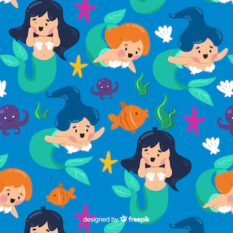 Flat mermaid pattern