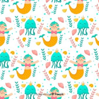 Flat mermaid pattern