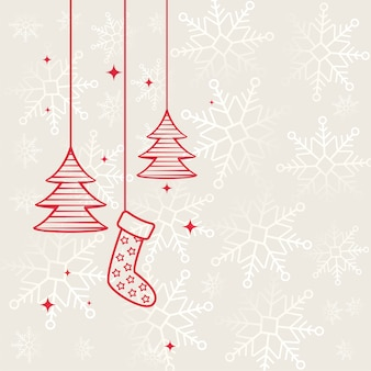 Flat merry christmas decorative background