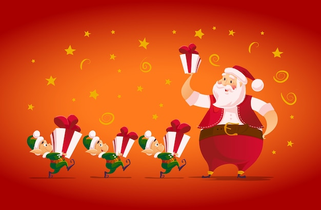 Flat merry christmas and happy new year illustration with santa claus and his funny elf with gift box. cartoon style.