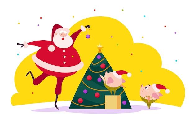 Плоская иллюстрация рождества с санта-клаусом и двумя милыми свиньями-эльфами-компаньонами, украшающими елку