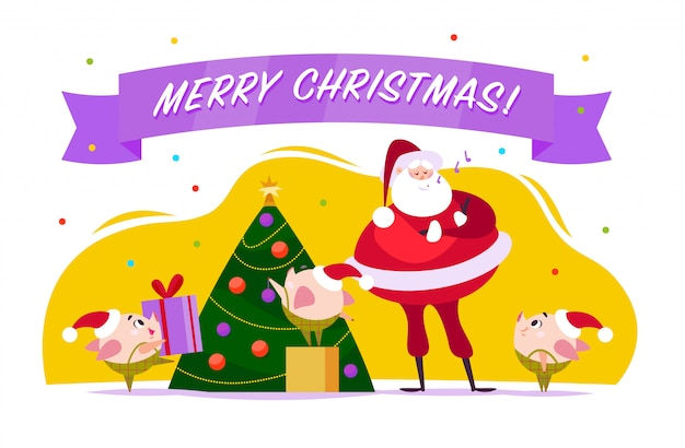 Flat merry christmas illustration with santa claus, cute pig elf decorate