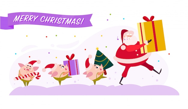 Flat merry christmas illustration with santa claus and cute pig elf walking with present gift box, decorated fir tree and candy lollipop