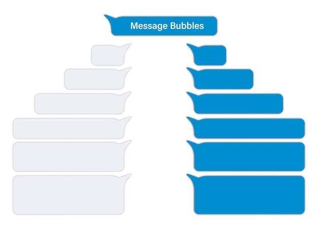 Плоские сообщения пузыри. набор пустых пузырей чат. дизайн-шаблон для чата в мессенджере