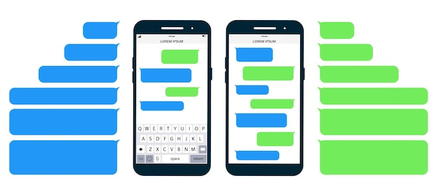 플랫 메시지 거품. 화면에 메시지 전화 평면 디자인입니다. 단문 메시지 서비스 거품