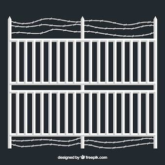 Flat metal fence with barbed wire