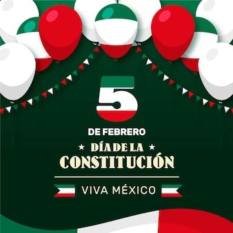 Плоский день мексиканской конституции с датой