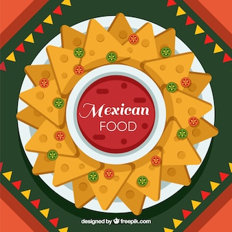 Flat mexican food background with nachos
