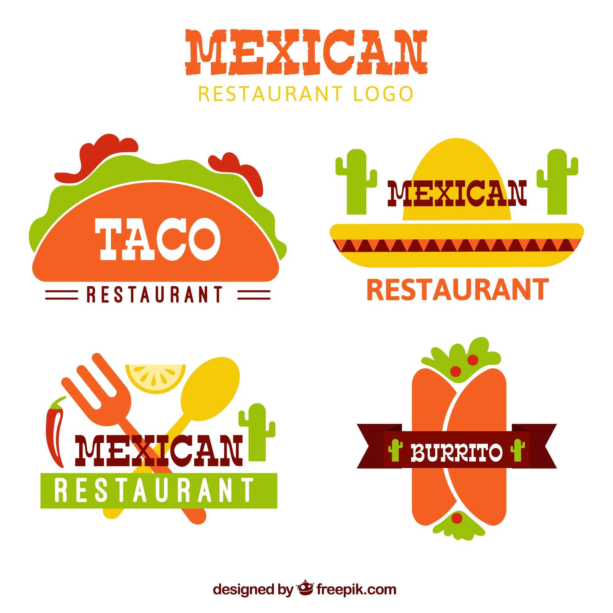 Flat mexican food logotypes