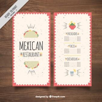 Flat mexican menu restaurant with tacos