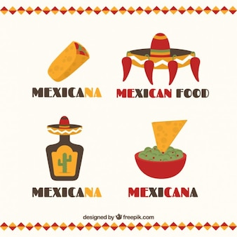 Flat mexican restaurant logo collection