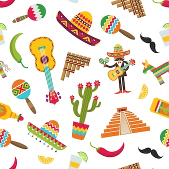 Flat mexico attributes pattern or  illustration