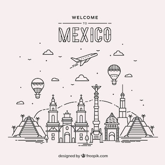 Плоский фон города мексики