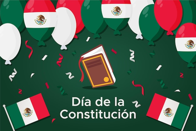 Flat mexico constitution day with balloons