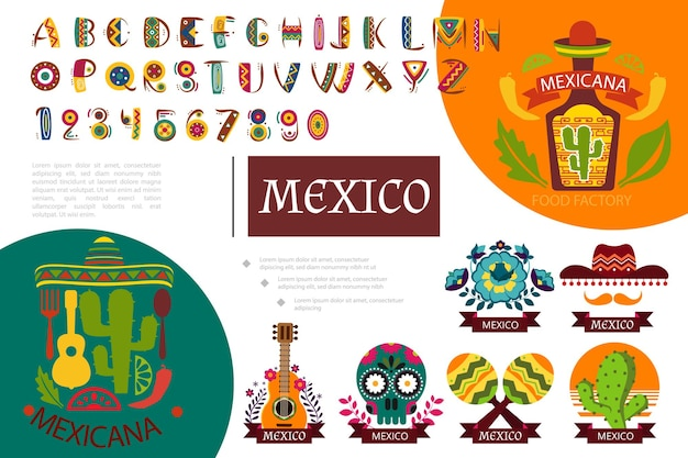 Flat mexico elements composition illustration