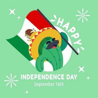 Flat mexico independence day concept