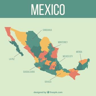플랫 멕시코지도 배경
