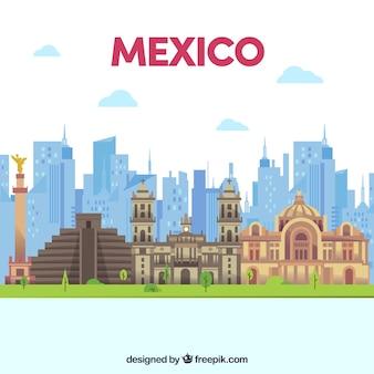 플랫 멕시코 스카이 라인 배경