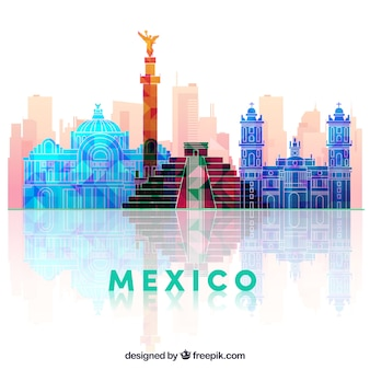 Flat mexico skyline background