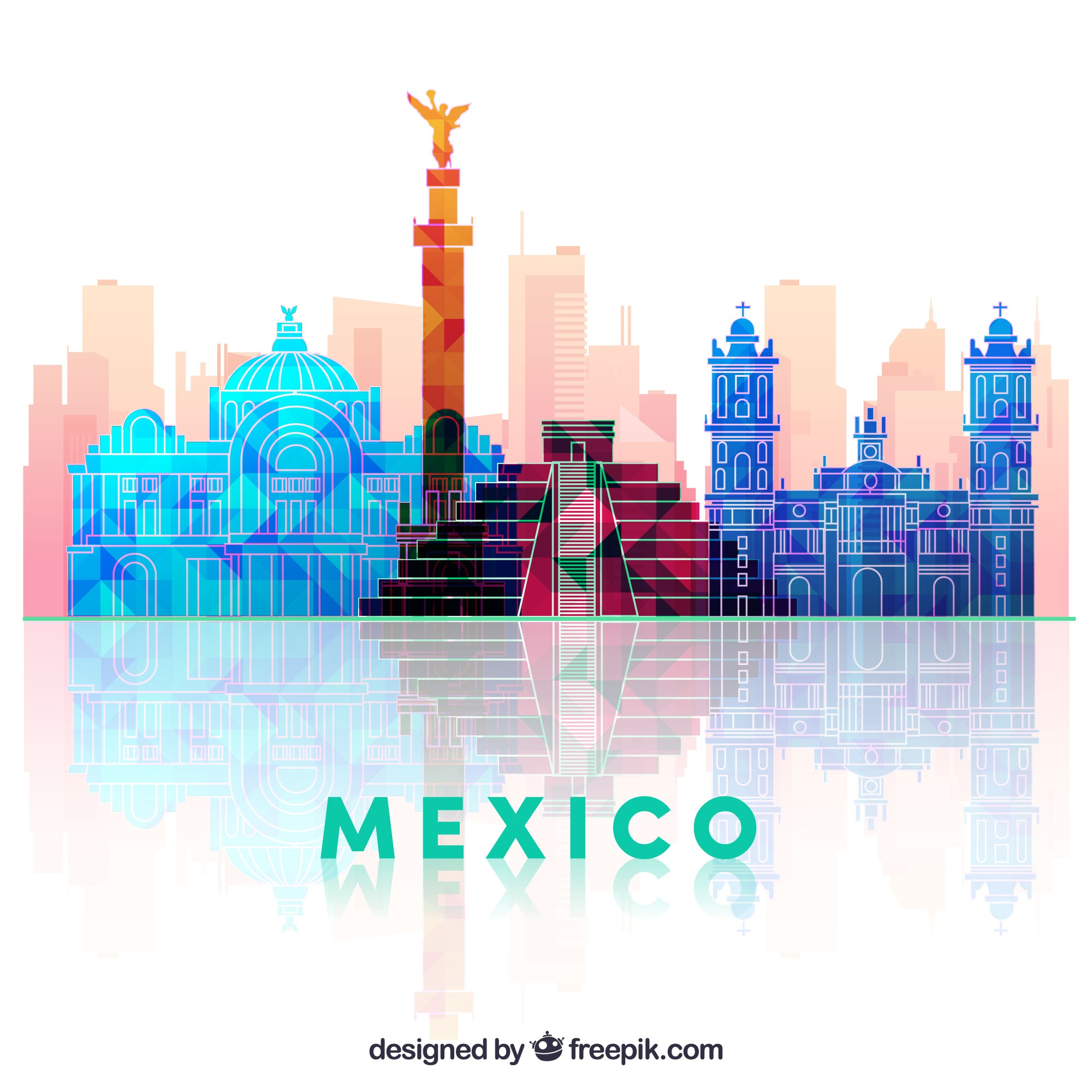 Flat mexico skyline background