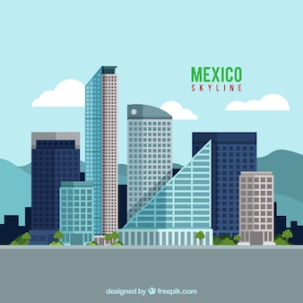 平らなメキシコのスカイラインの背景