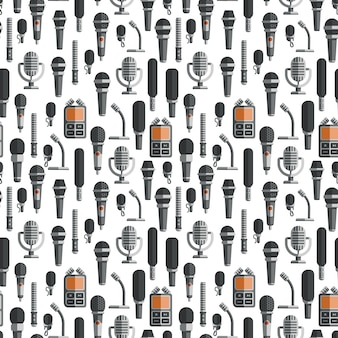 Flat microphones and dictaphones seamless pattern