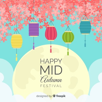 Flat mid autumn festival background design