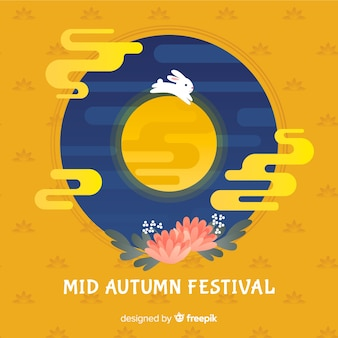 Flat mid autumn festival background