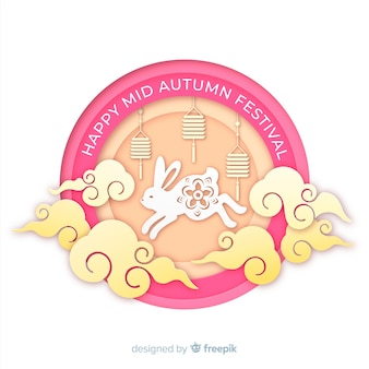 Flat mid autumn festival background