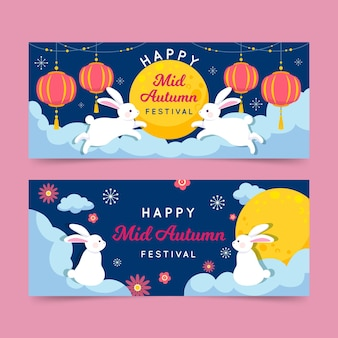 Flat mid-autumn festival banners