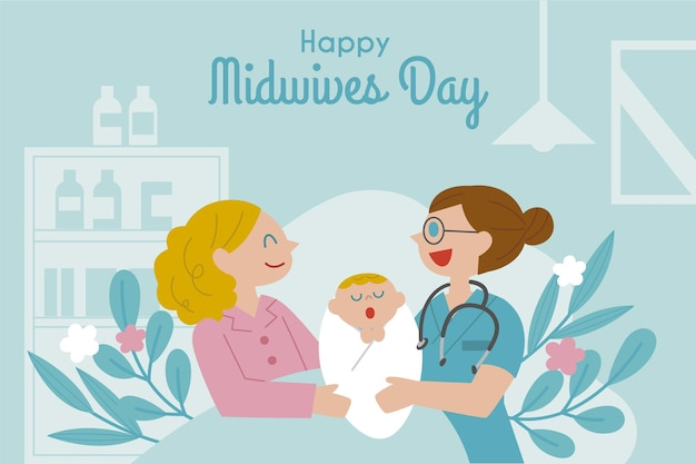 Flat midwives day illustration