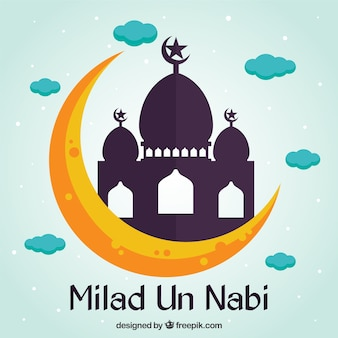Flat milad un nabi mosque background