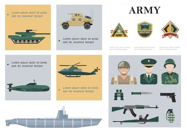 Flat military composition with tank armored car helicopter submarine warship soldiers officer weapon binoculars and army emblems