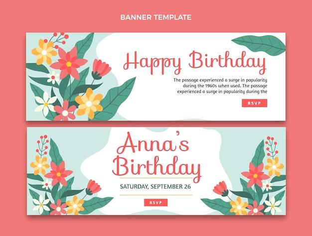 Flat minimal birthday banners horizontal