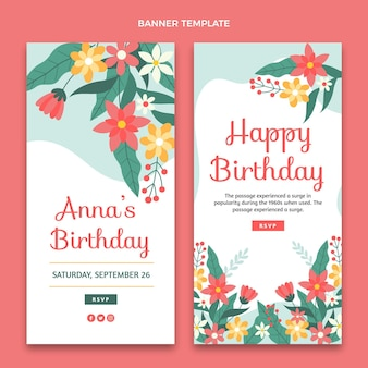 Banner di compleanno minimal piatto verticale