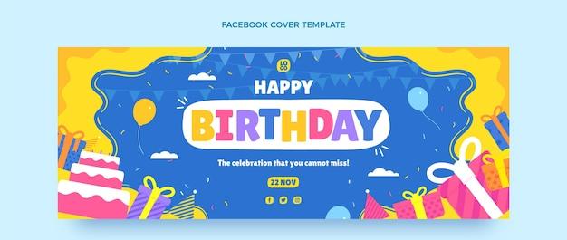 Плоская минимальная обложка facebook для дня рождения