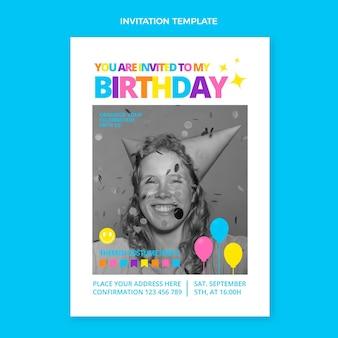 Плоское минимальное приглашение на день рождения