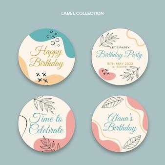 Flat minimal birthday label and badges