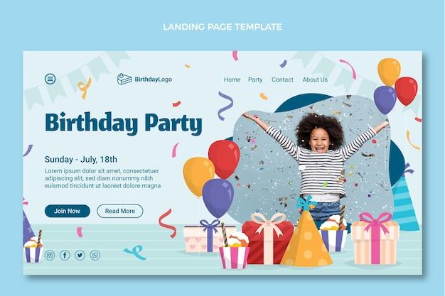 フラットな最小限の誕生日のランディングページ