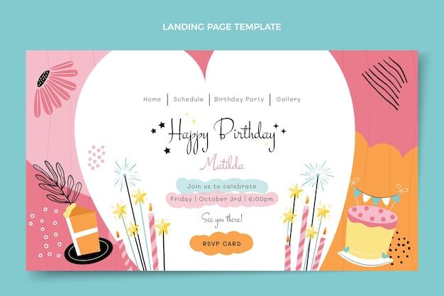 Плоская минимальная целевая страница дня рождения