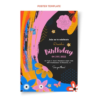 Flat minimal birthday poster