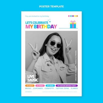 Плоский минимальный день рождения плакат