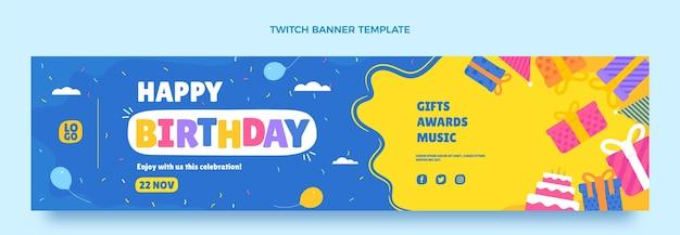 Flat minimal birthday twitch banner