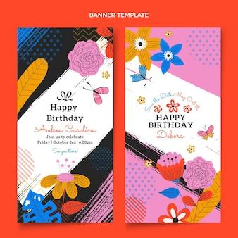 Flat minimal birthday vertical banners
