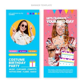 Banner verticale piatto minimo compleanno