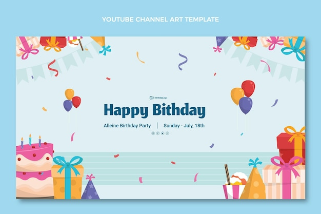 Flat minimal birthday youtube channel art