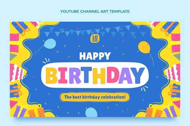 Arte del canale youtube di compleanno minimale piatto