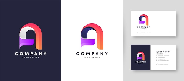 Flat minimal and colorful initial a letter logo with premium business card design   template